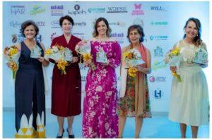 Carmem Lucia, Vanusia Nogueira, Iandra Vilela, Miriam Aguiar e Marisa Contreras. (Foto: Premiação)