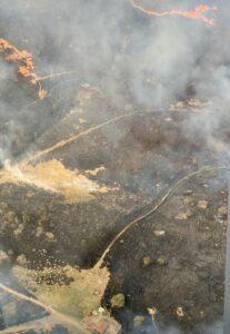 Foto aérea da área queimada